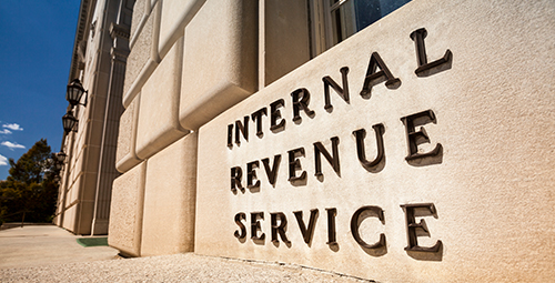 Image of wall that says Internal revenue service