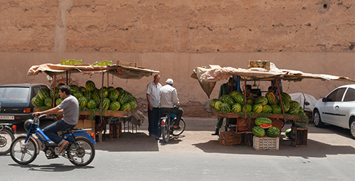 Two watermelon stalls in remote location
