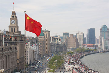 Chinese flag with city backdrop, foreign invested company in China