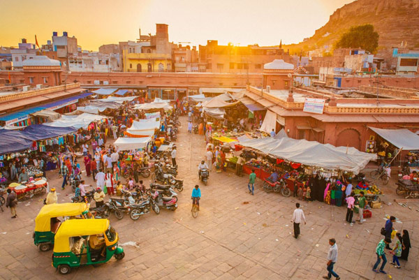 market in India at sunset, GST tax market