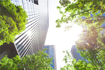 sustainability, sustainable reporting - skyscrapers and greenery